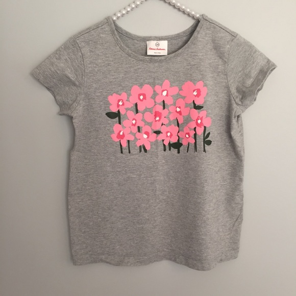 76e4a31ca398e Hanna Andersson Shirts & Tops | Gray Pink Floral Short Sleeve Top ...